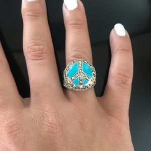 Silver and turquoise peace sign ring